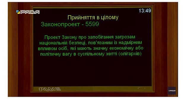 Верховная Рада приняла закон о борьбе с олигархами